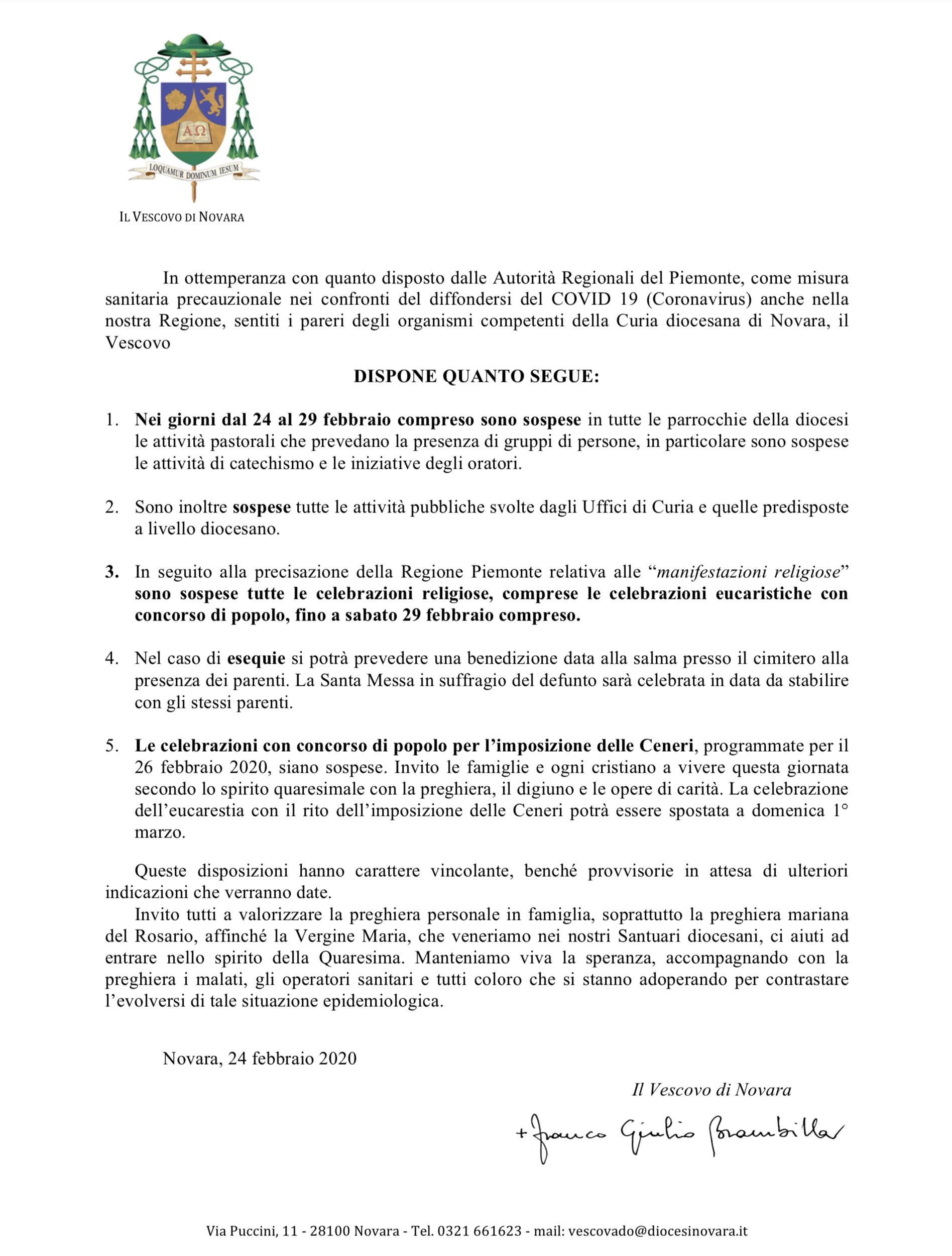 Misure contro il Coronavirus: aggiornamento ore 19