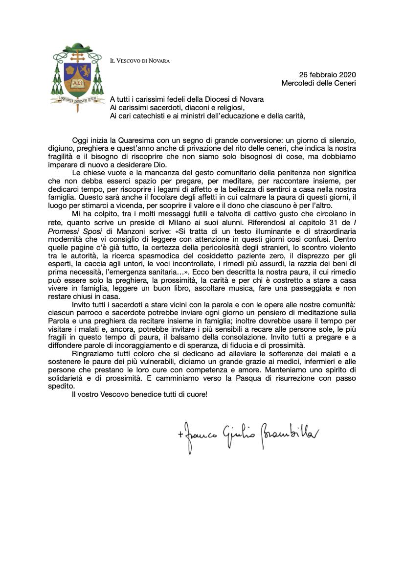 Quaresima Lettera del nostro Vescovo