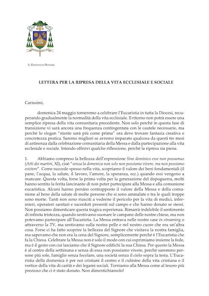Lettera per la ripresa della vita ecclesiale e sociale [vescovo Franco Giulio]