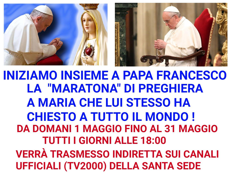 Maratona di preghiera mariana con papa Francesco – ogni giorno alle 18